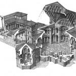 F. Corni, disegno ricostruttivo della Basilica con spaccato dell'alzato, vista da sud, Immagini di Mediolanum, p.268-269