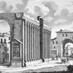 Croce e altare alle colonne di San lorenzo, nello sfondo porta Ticinese
