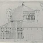 Disegno anonimo datato metà XVI sec., pubblicato nel 1929 da G. Nicodemi, Castello Sforzesco, Civico Gabinetto dei disegni, Scuola B. 56: è l'unica testimonianza precisa dello stato della chiesa prima del crollo del 1573.