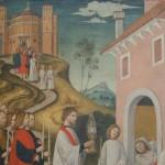 Maestro lombardo (fine del XV sec.), Il trasporto del santissimo Sacramento ad un malato, basilica di San Lorenzo Maggiore, Canonica. La rispondenza con l'edificio reale sembra sommaria se si confronta con la figura precedente